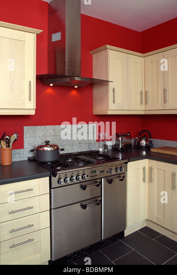 Kitchen appliances extractor oven stock photos kitchen for Red fitted kitchen