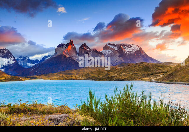 Torres Del Paine National Park, Chile. Pehoe Lake at sunrise. - Stock Image