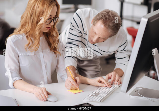 Positive Office Managers Collaborating Workplace Stock Photos ...