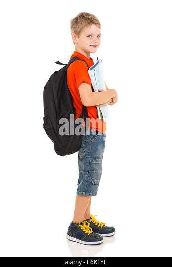 Elementary school student with backpack