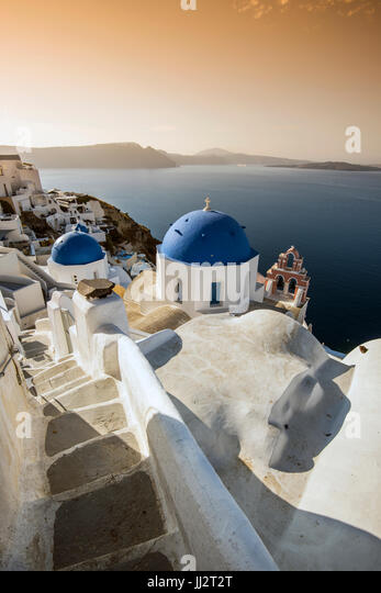Picturesque sunrise view in Oia, Santorini, South Aegean, Greece - Stock Image