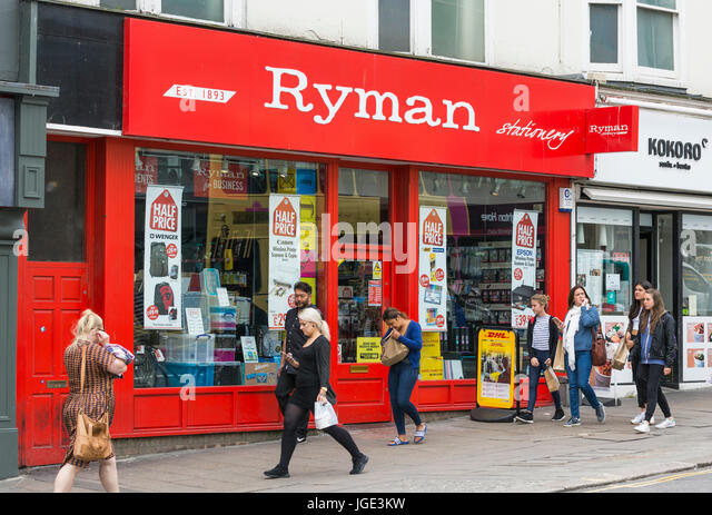 Ryman stationary shop front in the UK. - Stock Image