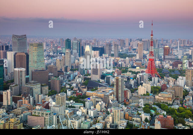 Cityscape image of Tokyo, Japan during sunset - Stock Image