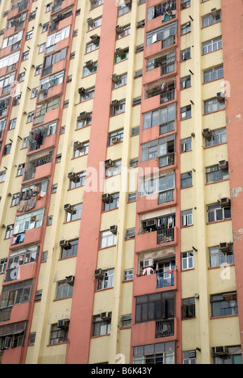 Apartment Building Air Shaft air conditioning hong kong stock photos & air conditioning hong