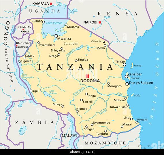 Tanzania Map Stock Photos Tanzania Map Stock Images Alamy