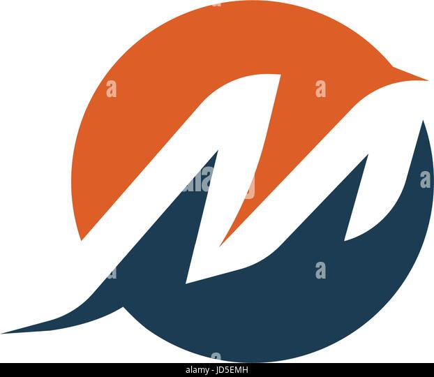 Letter M Logo Abstract Isolated Vector Dynamic Shape Alphabet Element Sport Logotype