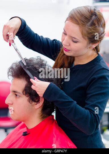 professional hairstylist cutting a man hair using a comb and scissors stock image - Professional Hairstylist