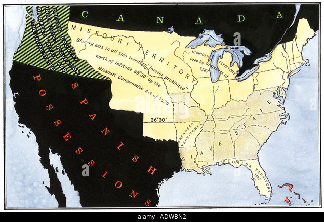 United States Map Showing Extension Of Slavery Resulting From The Missouri Compromise Act In 1820