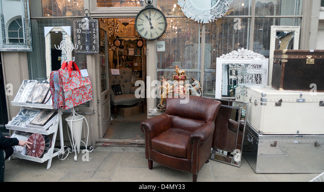 Vintage display on the pavement outside an antique furniture shop in Camden  Passage Islington London N1 - Antique Furniture Websites Antique Furniture