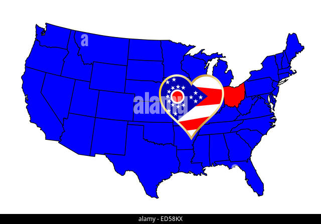 Ohio State Outline And Icon Inset Set Into A Map Of The United States Of America
