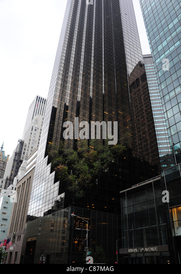 Grey sky autumn portrait Armani Store and black glass Trump Tower, with cut away base tree garden, 5th Avenue, New - Stock Image