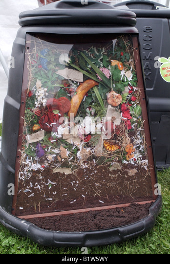 a cutaway compost bin showing how compost is made stock image