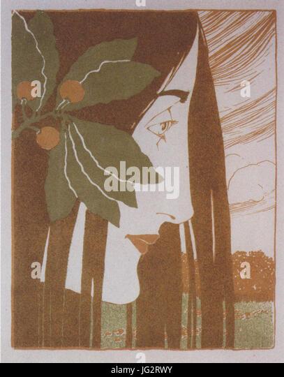 Kolo Moser   Ein Decorativer Fleck In Roth Und Grün   1897   Stock Image