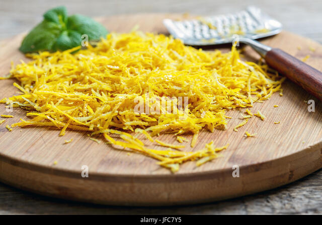 Lemon zest grated. - Stock Image