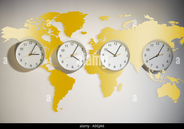 world map with clocks stock image