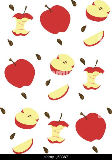 Pattern Made With Images Of Whole Cut And Almost Eaten Apples Apple Seeds