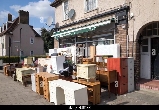 Secondhand furniture shop in Tottenham, London, England, UK - Stock Image   charity furniture hand sale second .