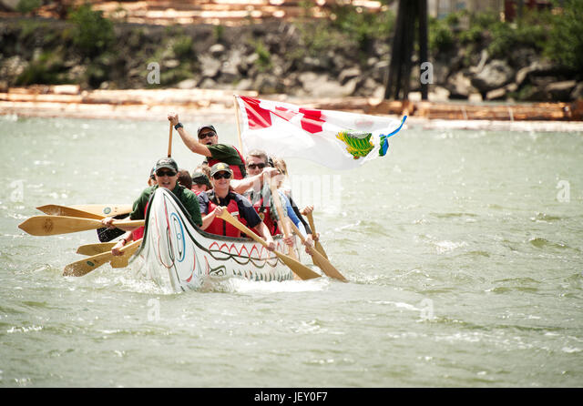 National Aboriginal Day Canoe Races At The Stawamus Waterfront Squamish BC Canada