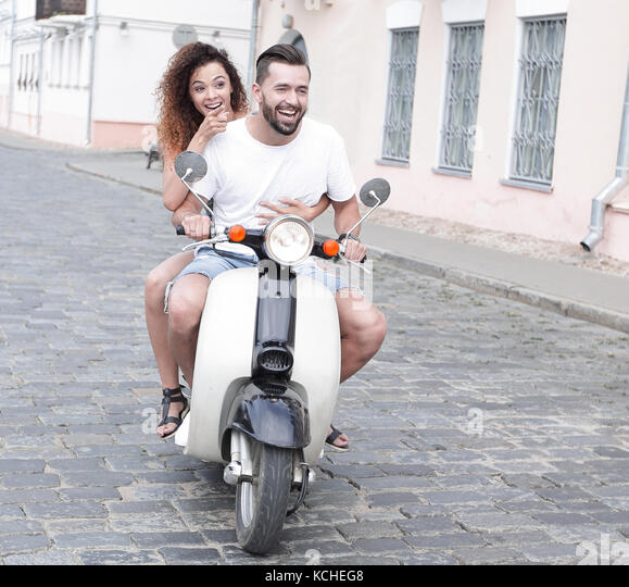 AuBergewohnlich Gallery Of Awesome Trendy Affordable Full Length Side View Of Happy Couple  Riding On Retro Motorbike Stock Image With Kche Vintage Look With Retro  Kchenmbel ...