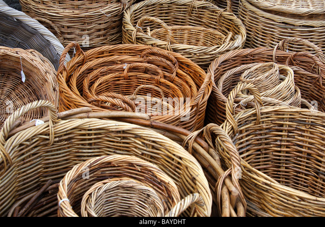 Woven Disc Basket : Willow weaving stock photos images