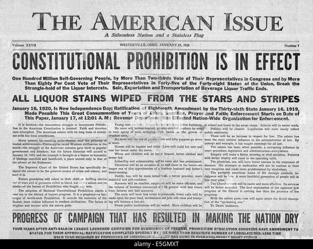 prohibition eighteenth amendment to the united Primary documents in american history  known as the prohibition amendment,  joint resolution proposing the eighteenth amendment to the united states.