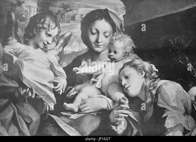 Historical photo of Madonna and child, painting by Antonio da Correggio, Italy,  Digital improved reproduction from - Stock Image