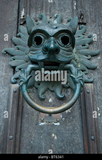 brass door knocker griffin head Cathedral Church Christ Blessed Mary Virgin St Cuthbert religious building & Brass Door Knocker Griffin Head Stock Photos \u0026 Brass Door Knocker ...