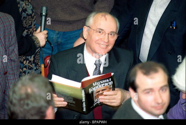 mikhail gorbachev and his book 1996 stock image