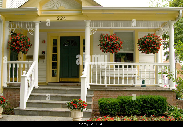 Hanging baskets stock photos hanging baskets stock for Front porch hanging plants