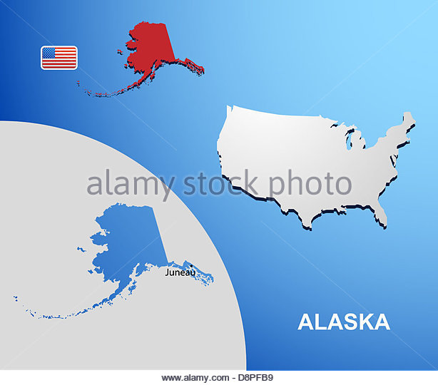 alaska on usa map with map of the state stock image