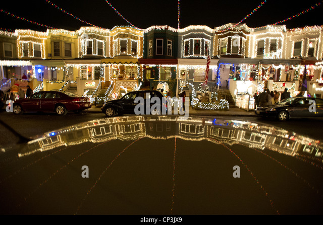 lights decorates houses on 34th street in hampden baltimore maryland stock image - Christmas Lights Maryland