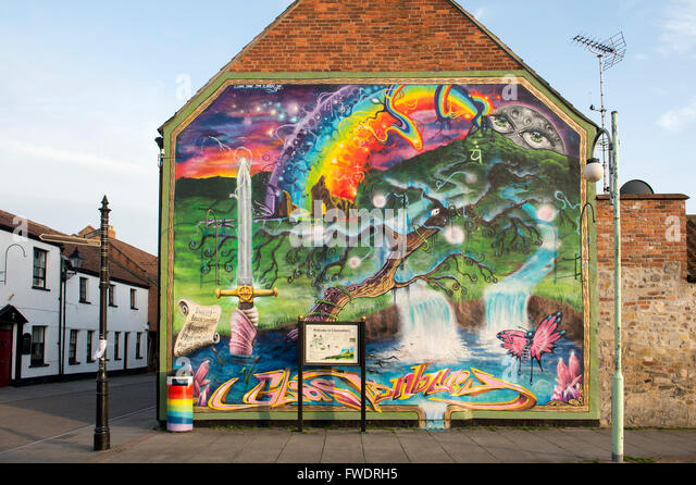 Glastonbury street art stock photos glastonbury street for England wall mural
