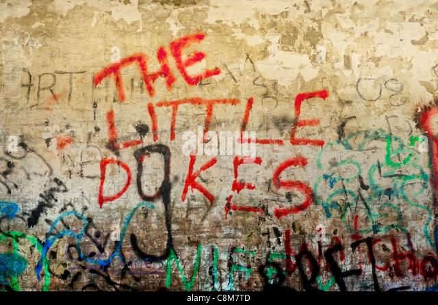 spray paint wall. graffiti spray painted on a wall near edinburgh, scotland. - stock image paint