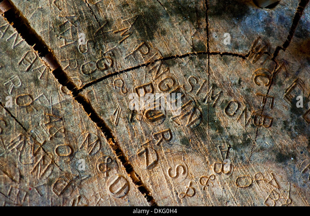 Carved names stock photos images alamy