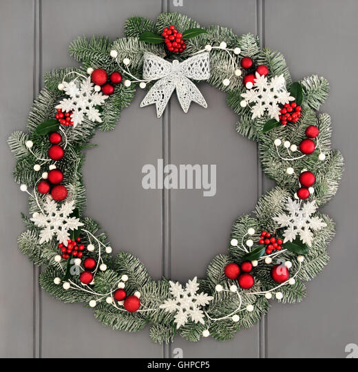 Christmas Wreath Blue Silver Decorations Stock Photos & Christmas ...