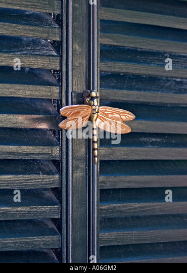 Dragonfly Doorknocker In Historic District Of Savannah Georgia   Stock Image