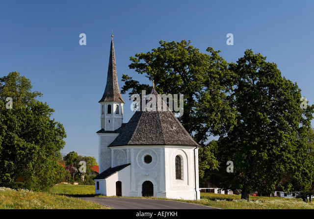 View to the warrior commemorative chapel in bad bayersoien village