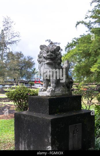 Garden Dragon Statue In Japanese Park, Hilo, Hawaii   Stock Image