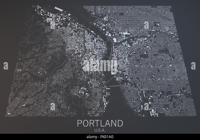 Portland Map Satellite View Oregon State United States Stock Image