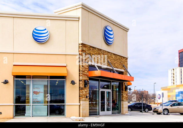The exterior of an at amp t retail store in oklahoma city oklahoma usa