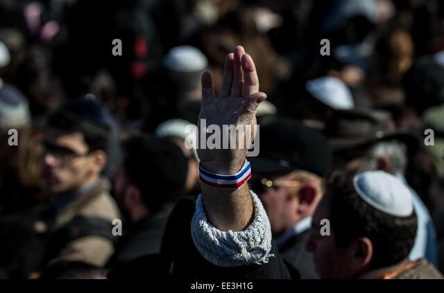 Givat Yoav Israel  city photos : Jeruslaem, Israel. 13th Jan, 2015. A man raises his hand with a band ...