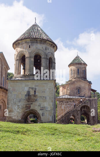 Belfry and St. Nicholas Church, Gelati Monastery, Kutaisi, Imereti Province (Mkhare), Georgia - Stock Image