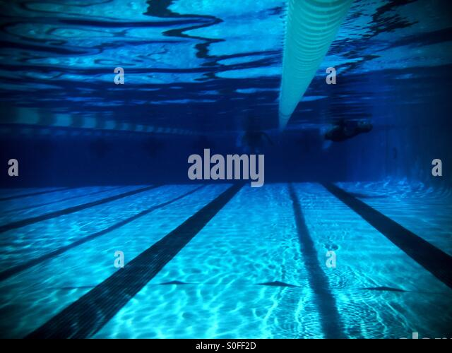 Underwater View Of Two Swimmers Competing In Adjacent Lanes, From Far  Length Of Olympic Size