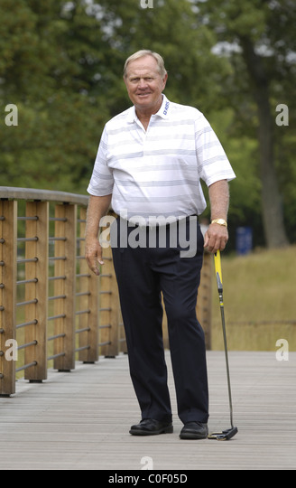 celebrity playing golf jack nicklaus stock image