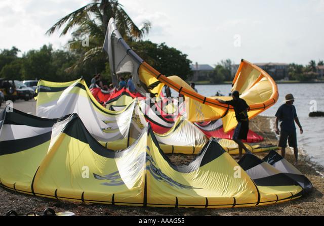 florida kite surfers wind recreation sport stock image