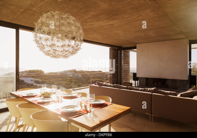 Modern Dining Room And Living Overlooking Ocean