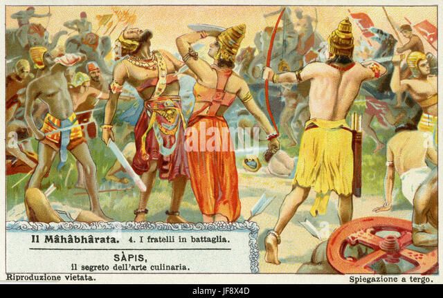 Mahabharata, Sanskrit epic poem. Kurukshetra war. Liebig collectors' card 1931 - Stock Image