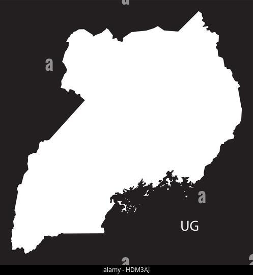 Africa Map Black White Illustration Stock Photos Africa Map - Uganda map hd