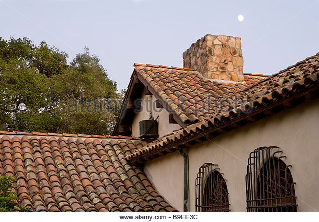 Barrel tile roof stock photos barrel tile roof stock for Spanish style roof tiles