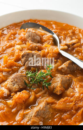 Cabbage Stew With Beef Goulash Close Up Shoot Stock Image